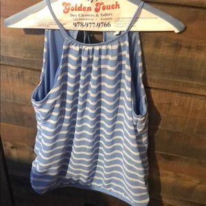 Light blue and white stripe top